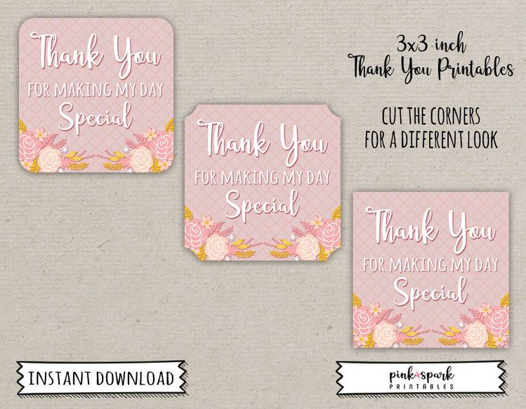 Thank You Tags Birthday Loot Bag Insert Printable For Party Favor Floral Card