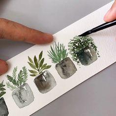 Tutorial : Potted plants. #artbyzafikha . : : Paint : @schmincke_official Brush : @silverbrushltd Black Velvet (Round 4) Paper :…