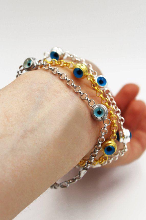 Sterling Silver Evil Eye Bracelet Amulet Etsy