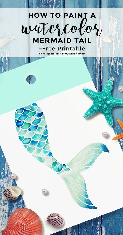 How to Paint a Watercolor Mermaid Tail Printable via @JocieOPC