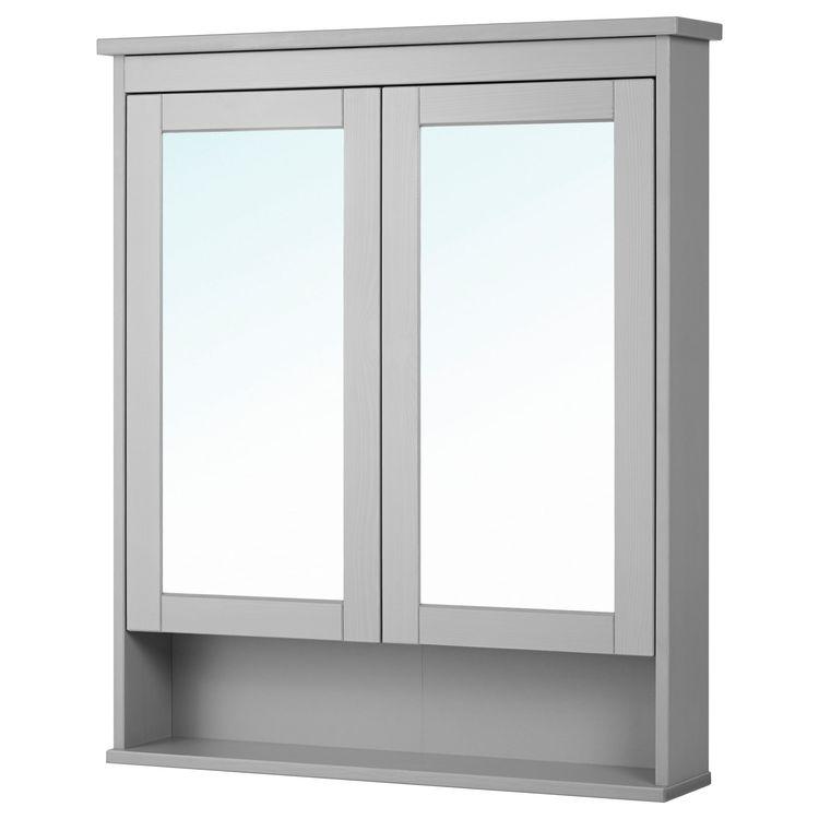 Hemnes Mirror Cabinet With 2 Doors Gray 32 5 8x6 1 4x38 8 Ikea