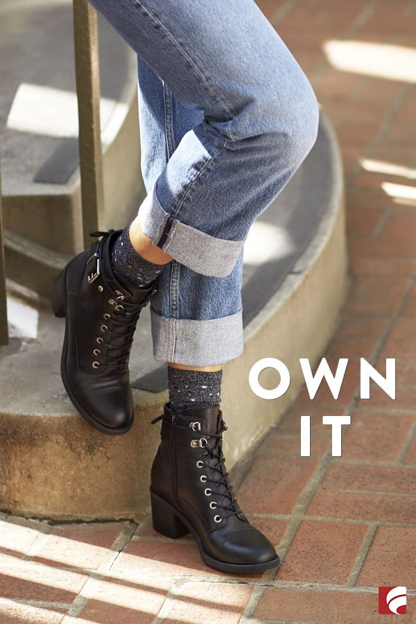 It doesn't matter how you style these—what's important is that you just totally own it. To really make a statement, pair your combat boots with cuffed boyfriend jeans and let your socks peek out.