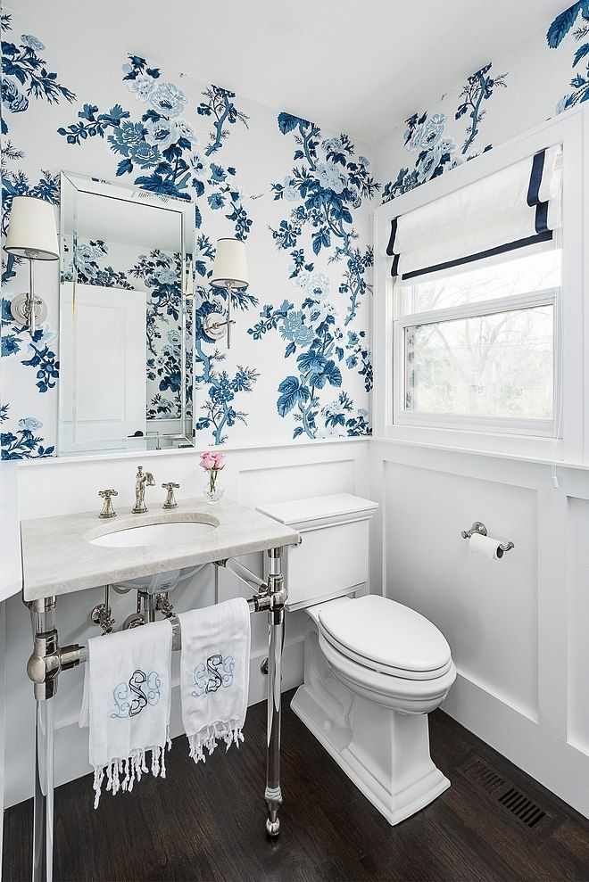 Bathroom Schumacher Pyne Hollyhock Indigo Wallpaper and White Roman Shade with Blue Trim (Molly Griggs Interiors-Photography Marina Storm)