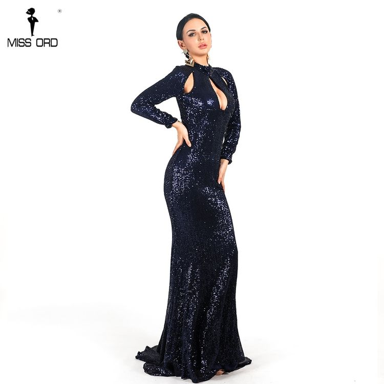 39fbf2f3b4 Missord Women Sexy High Neck Long Sleeve Hollow Out Dresses