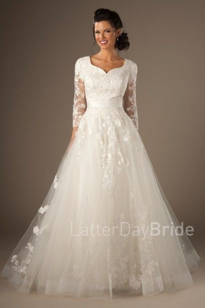 5df3a3881dd8 long sleeved modest wedding gowns with lace, sweetheart neckline and ball  gown
