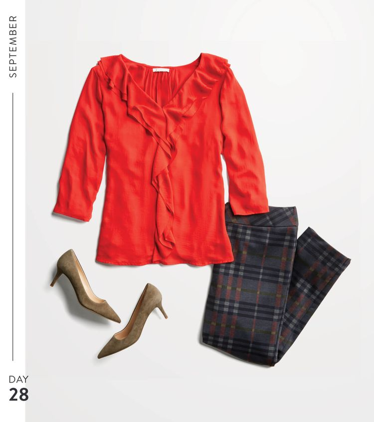 If that top is a true ble red and the pants are as comfy as they look. I'll try them on!  September Stitch Fix Trends | Stitch Fix Style