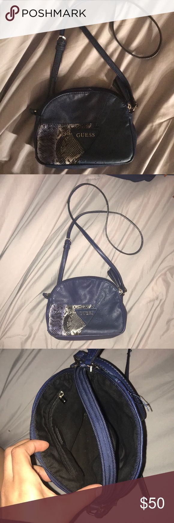 Guess Crossbody Purse Royal Blue With Imitation Ostrich And Snake Skin Bags