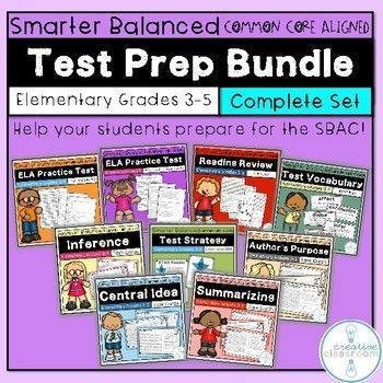 picture regarding Printable Sbac Practice Test identify Smarter Healthier ELA Check out Prep Package Gr 3-5 (SBAC) Comple