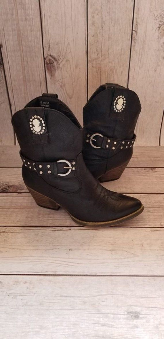 65d00112938 Size 6.5 Very Volatile Black Women's Upcycled Cowboy Ankle