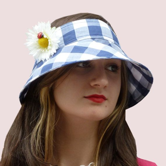 6245ec2e4bb Checks and Ladybug Headband with Wide Brim Sun Visor in Blue   White  Gingham Check Cotton with Flower Pin