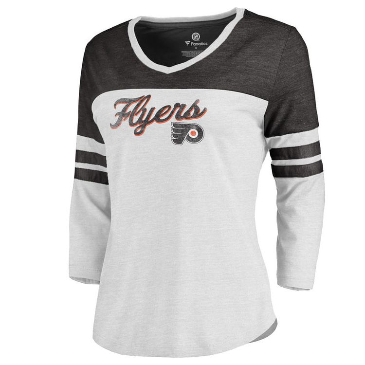 9038b2c0 Philadelphia Flyers Fanatics Branded Women's Timeless Collection Rising  Script Plus Color Block 3/4 Sleeve Tri-Blend T-Shirt - White