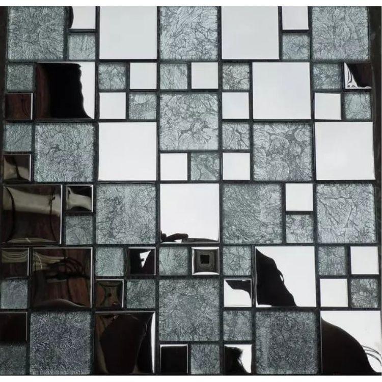 Gl And Metal Tile Kitchen Backsplash Stainless Clear Mosaic Bath Tiles