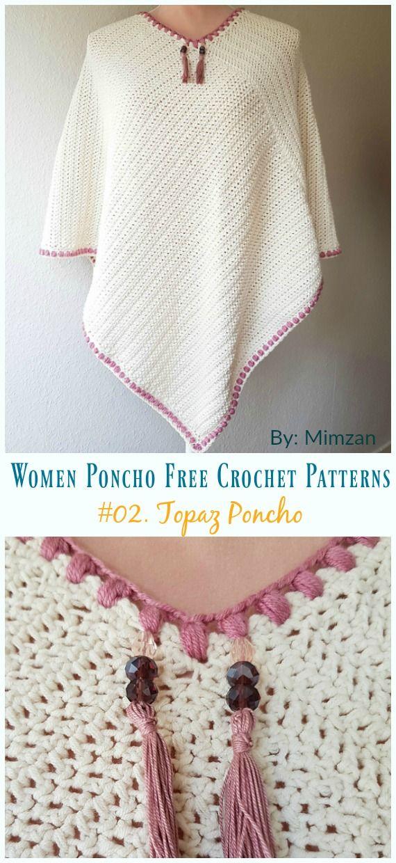 Topaz Poncho Crochet Free Pattern - Women #Poncho; Free #C
