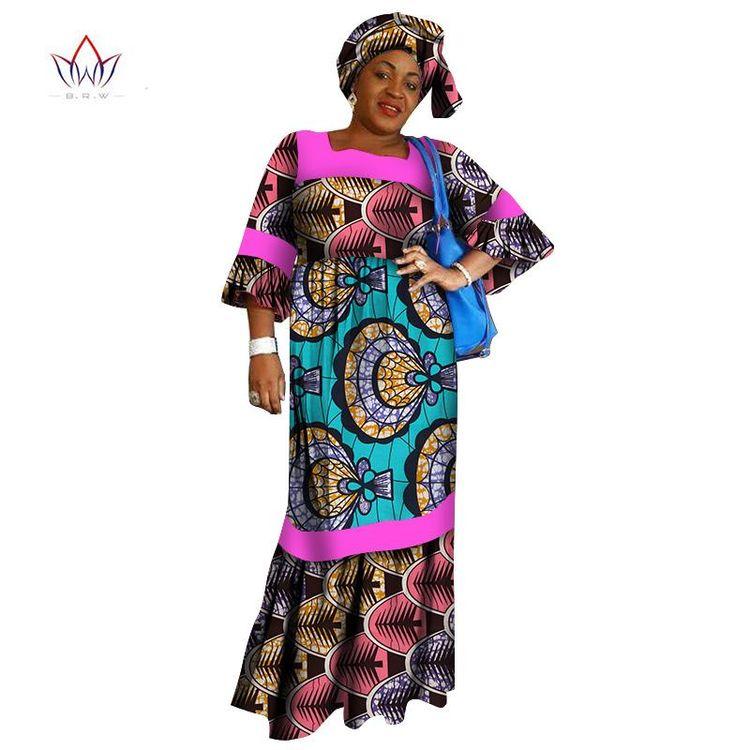 African Ankara For Women Dashiki Dresses Headwrap Loose Custom Dress Plus Headscarf