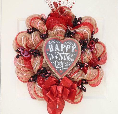 Valentines Day Deco Mesh Wreath By Eawreathsandboutique On
