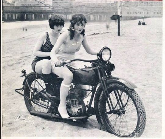 Biker flappers on the beach! Mid-1920s.