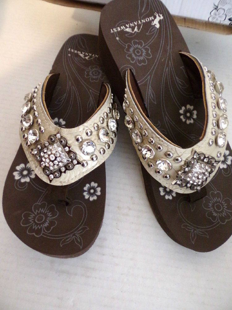9d8f5ea7b Montana West Flip Flops Diamond Concho Rhinestone Bling Shoes NEW   MontanaWest  FlipFlops