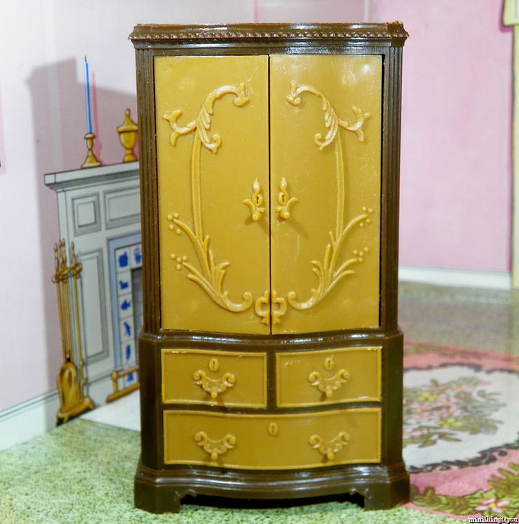 Unique ARMOIRE   CABINET Vintage Dollhouse Furniture 1:16 Renwal Ideal Marx  Tin #unknown