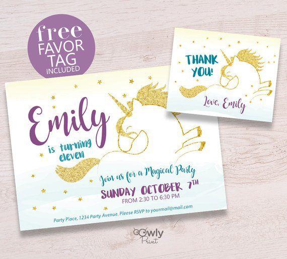 Printable Personalized Unicorn Birthday Invitation FREE Favor Tags Ready To Print Girl Bi