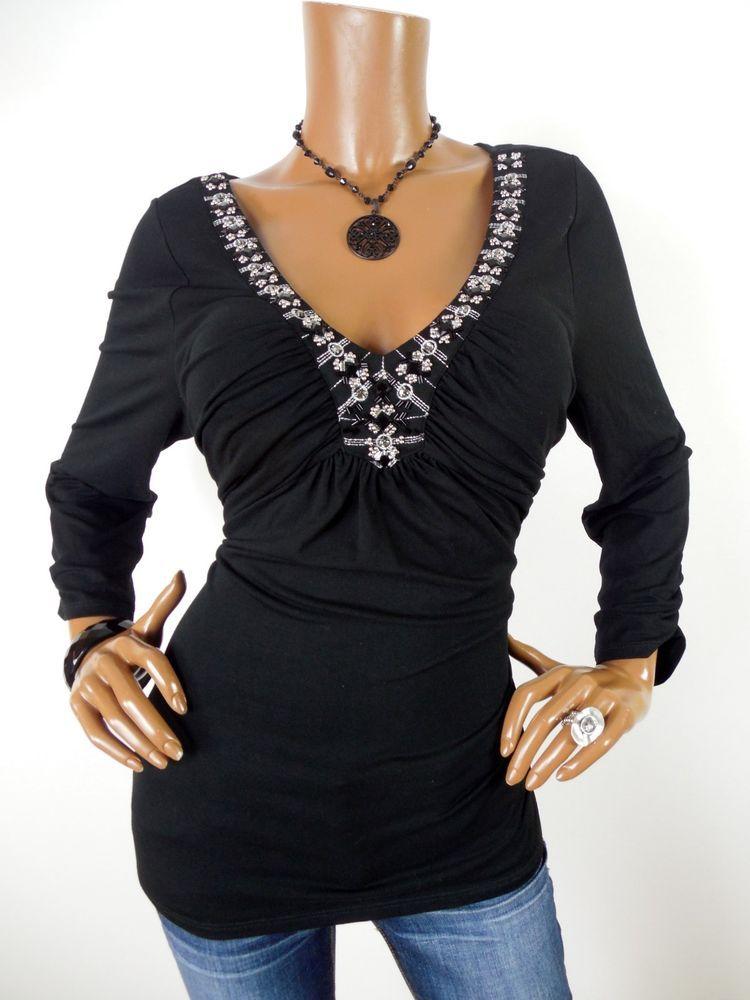 2e455e4f9e86 WHITE HOUSE BLACK MARKET Womens Top XL Grecian Style Shirt Stretch Stones  Beads #WhiteHouseBlackMarket #