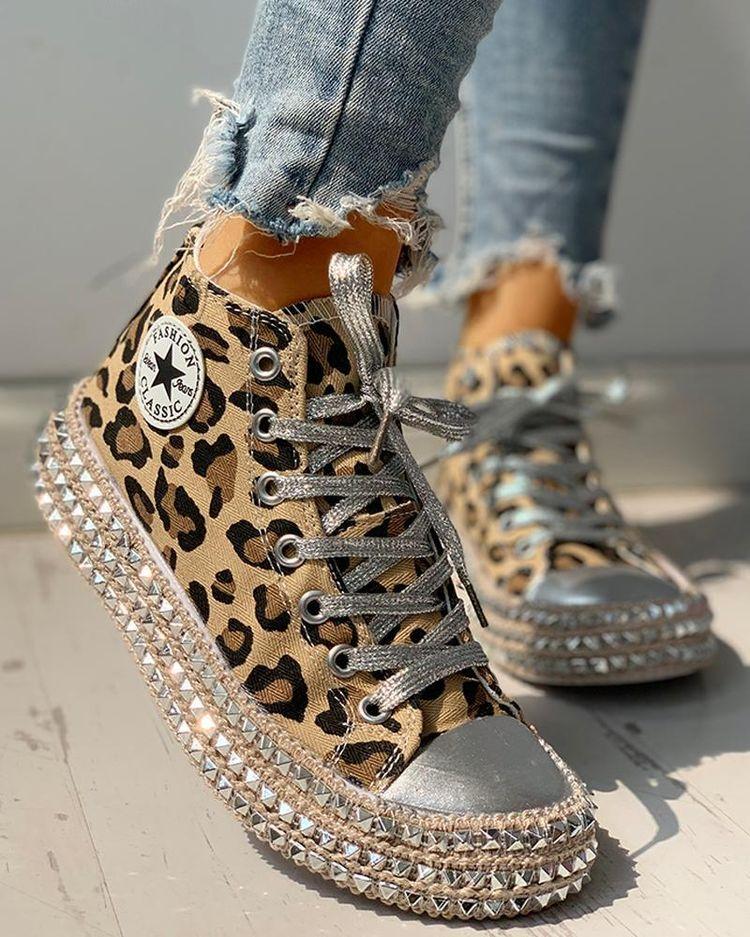 Leopard Rivet Embellished Lace-Up Sneakers – cuteshoeswear women sneakers outfit style women sneakers outfit swag women sneakers casual style shoes  #Sport #Trendy  #Latest #Fashion #Streetstyle #Fashion #Best