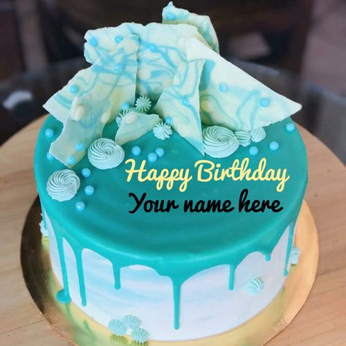 Write Brother Name On Blue Aqua Theme Birthday Cake,Generat