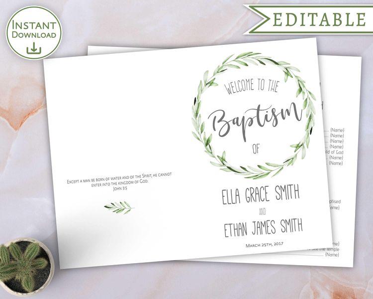 Baptism Program Editable PDF Unisex Digital Print For 2 Children LDS Printable Foliage Olive