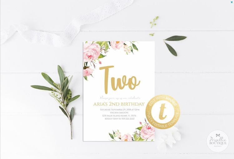 Floral Birthday Invitation Pink Gold Whimsical 1st 2nd 3rd Any Age Printable