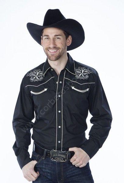 90bd602bc5 Compra en nuestra tienda en línea esta camisa negra de estilo cowboy    rockabilly para hombre