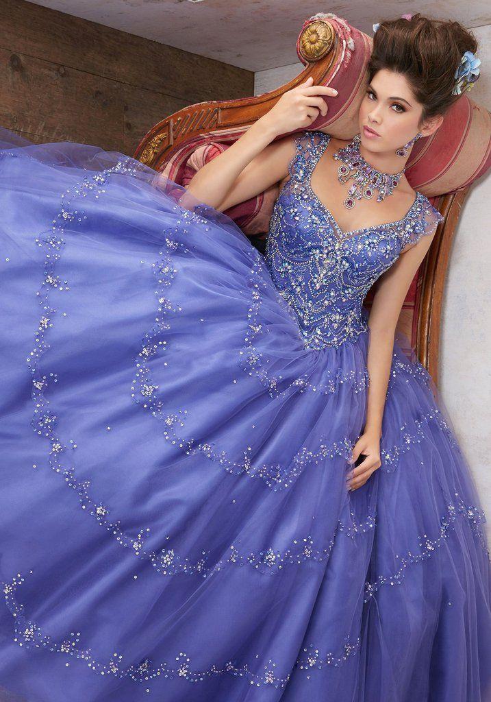 702bedf2b3 Beaded Flutter Sleeves Quinceanera Dress by Mori Lee Vizcaya 89136