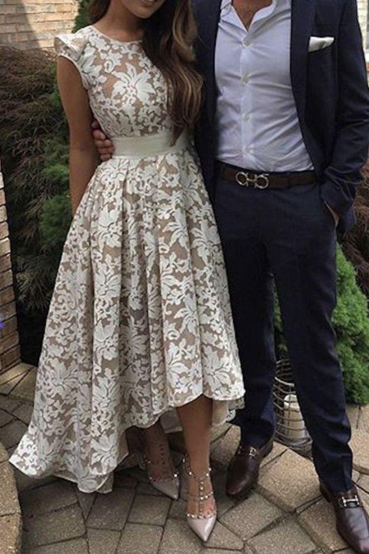 2019 Lace Scoop Asymmetrical Prom Dresses A Line Zipper Up