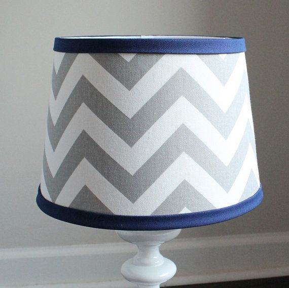 Small White Gray Chevron Lamp Shade With Accent Navy Blue