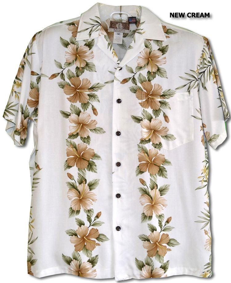 ef999c7cf Pink White Hibiscus Plumeria Panel. Men's Hawaiian tropical aloha style,  RJC Kalaheo Label shirt