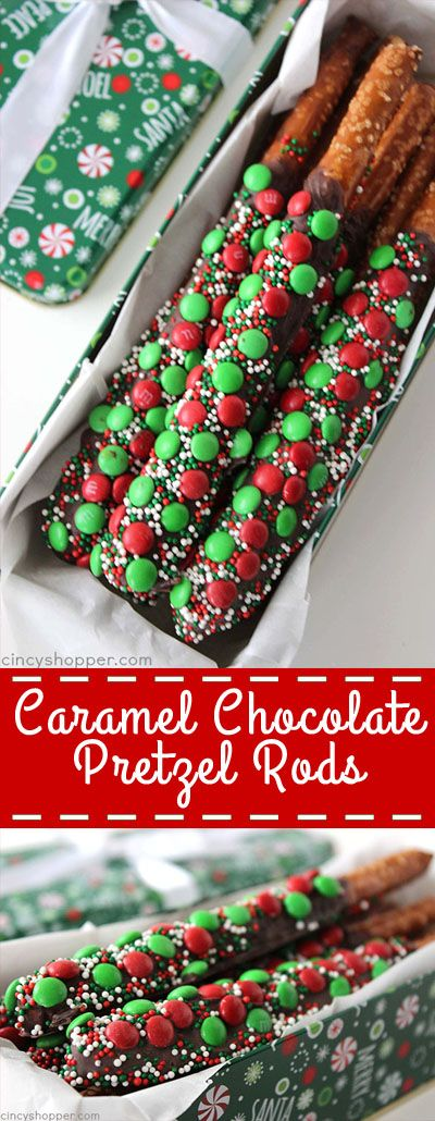 these caramel and chocolate pretzel rods will be perfect for gifting this holiday season simple to make no need to buy gourmet - Simple Christmas Desserts