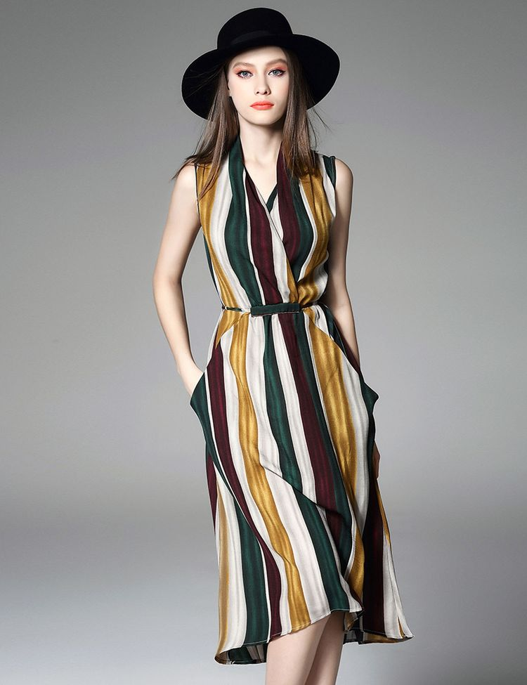 Wrap Front V-Neck Sleeveless High Waist Striped A-Line Dress