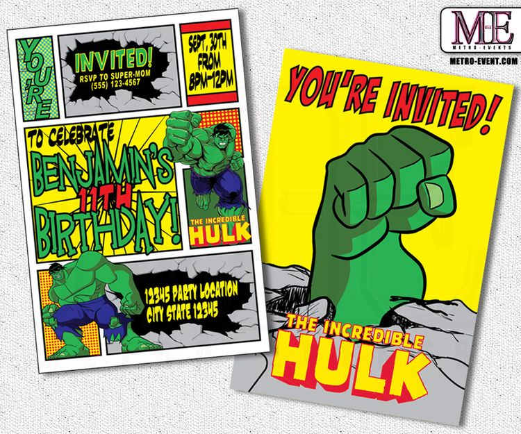 The Incredible Hulk Birthday Invitations