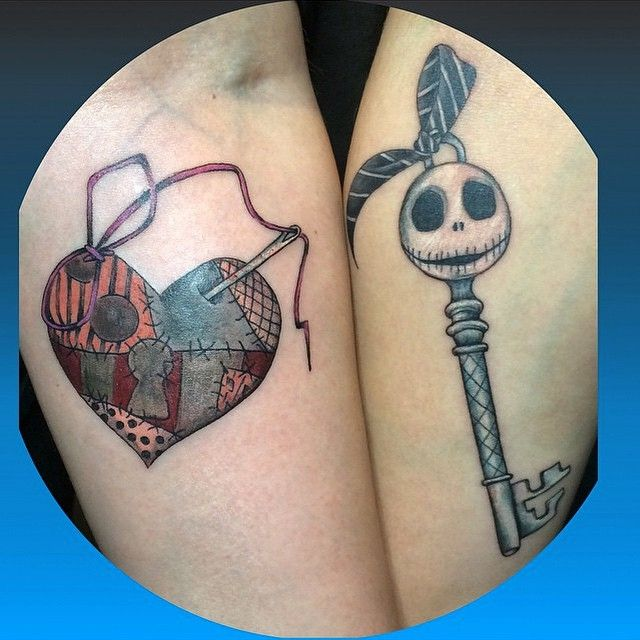 08b7b8c63 Jack and Sally key and locket done by @oogie_tattoos ❤ #inkeddisney