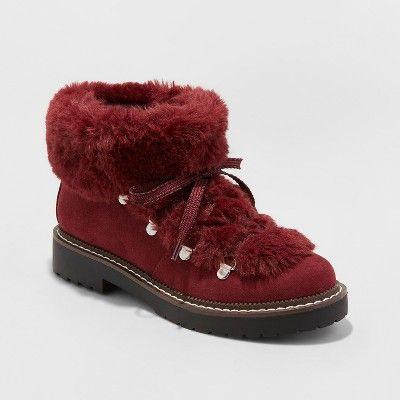 024de86e1d91 Women s Tessie Faux Fur Hiker Boots - A New Day™ Burgundy 7   Target