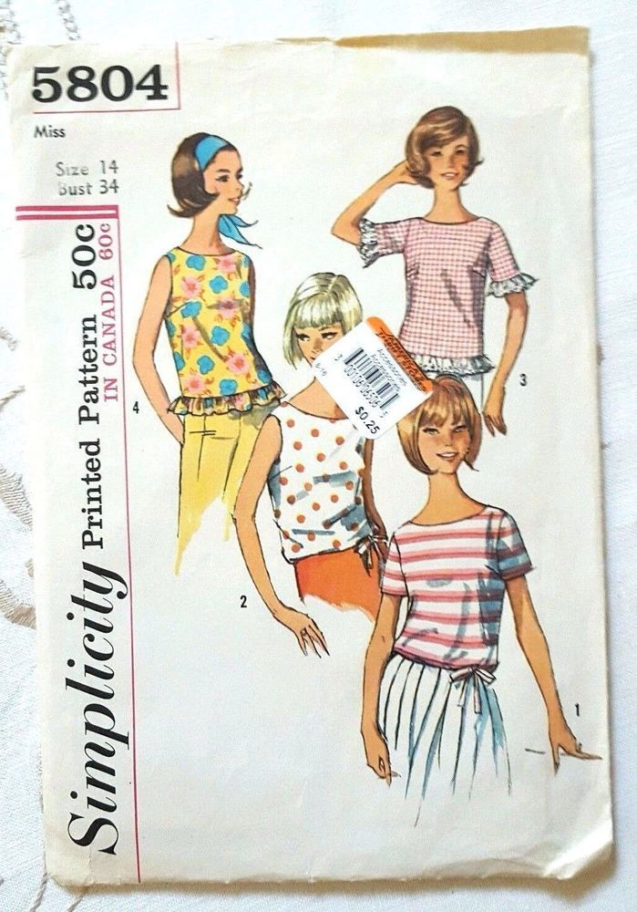 Simplicity Sewing Pattern 5804 Vintage 1964 Blouses Tops Sz