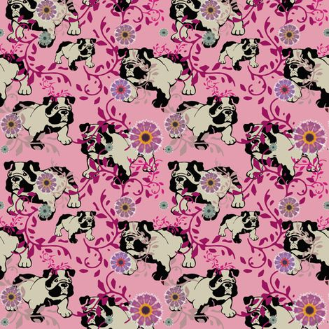 Colorful fabrics digitally printed by Spoonflower - bulldog in the flower garden - can u find him?