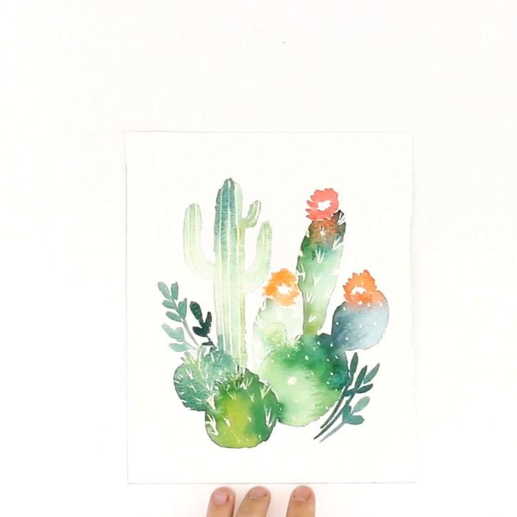 Wet in Wet Cactus #Watercolor #Tutorial
