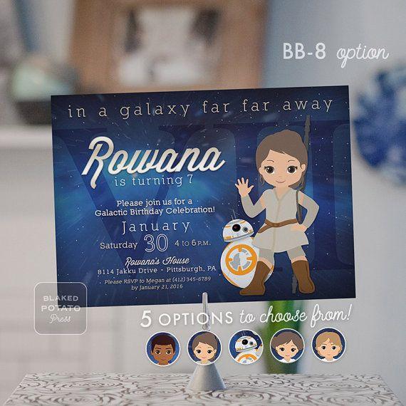 Star Wars Birthday Invitation Digital File Jedi Girl Leia Luke Rey Finn BB 8