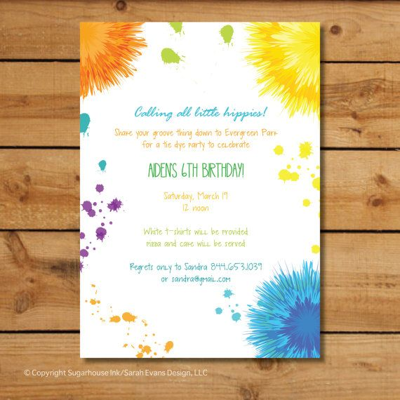 hippie birthday party invitations tie dye by sugarhousein
