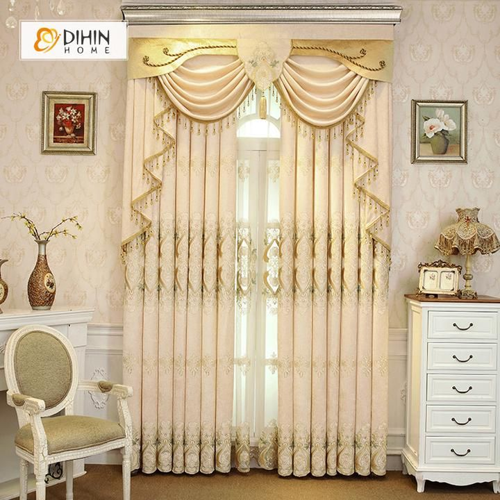 DIHIN HOME Beige Embroidered Luxurious Valance ,Blackout Curtains Grommet Window Curtain for Living Room ,52x84-inch,1 Panel