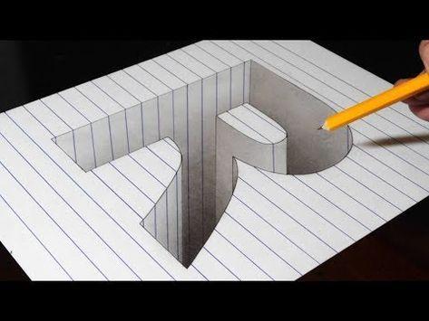 Desenhando um buraco R em papel de linha - ilusão de ótica de arte de truque 3D