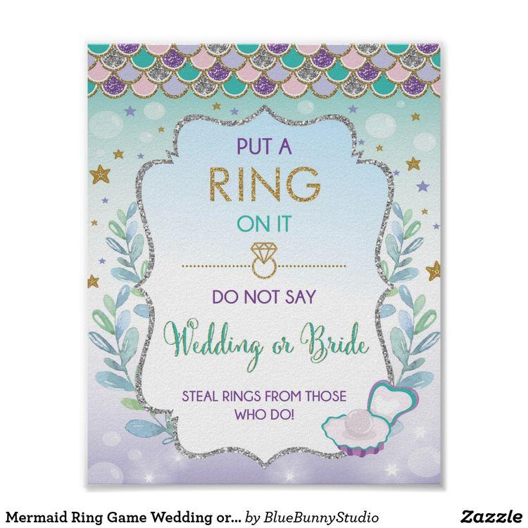 mermaid ring game wedding or bride bridal shower poster