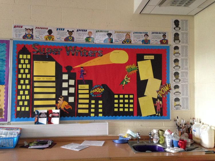 Classroom Ideas Uk : A key stage one star writers display peg their work on