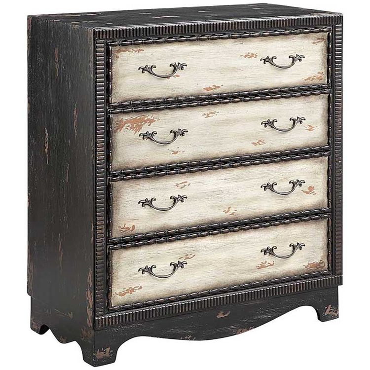 Black Accent Chest With Aged White Drawer Fronts And Botanical Pulls