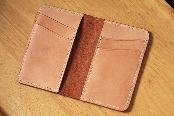 100% Handmade-stitched Vegetable Tanned Leather Card Case cb78235da36