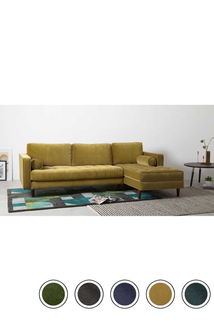MADE 4 Seater Chaise End Corner Sofa Gold Cotton Velvet Scott Sofas Collection From MADECOM